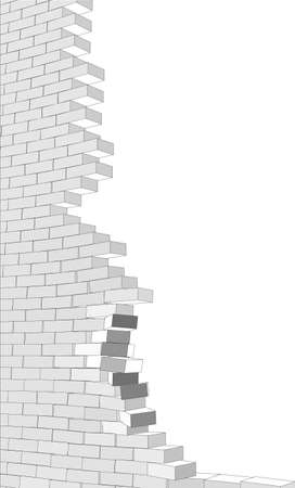 broken wall: Broken wall on isolated white background. Vector illustration