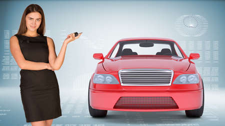 tailpipe: Businesslady holding car key and looking at camera on abstract blue background