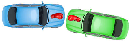 tailpipe: Colorful cars with boxing gloves on isolated white background, top view