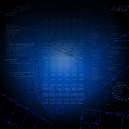 graphical: Abstract blue background with ground plans and graphical charts