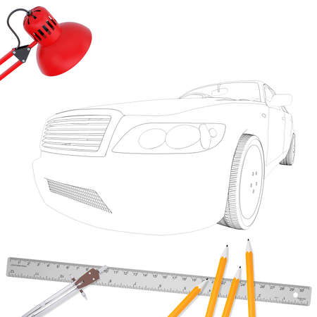 Graphic car model and office stuff on isolated white background, side view Stock Photo