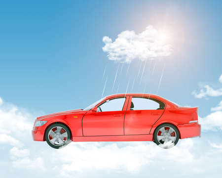 tailpipe: Nature blue sky background with red car and rain drops