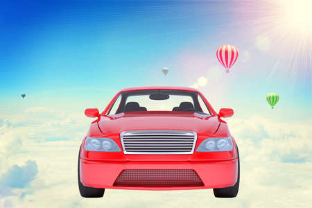 Red car on clouds with balloons in blue sky