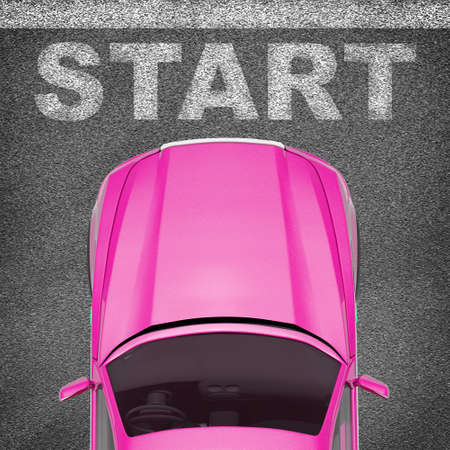 tailpipe: Pink car on grey texture background with words, top view