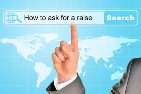 sentence: Businessmans hand on abstract blue background with sentence in browser and world map