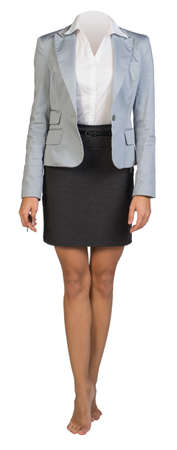 on tiptoes: Businesswoman body standing on tiptoes on isolated background