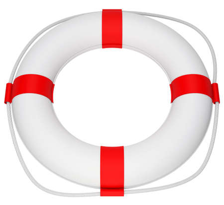lashing: Life saver with white rope on isolated white background