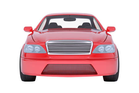 Image of red car on isolated white background, close-up view
