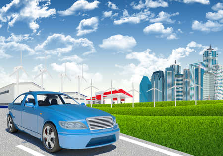 Car with wind generators and petrol station on urban background