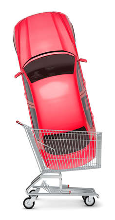 Red car in shopping cart on isolated white background Stock Photo
