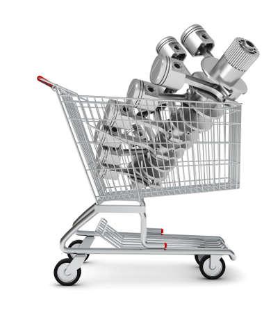 crankshaft: Engine in shopping cart om isolated white background