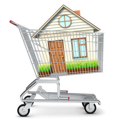 coziness: House in shopping cart on isolated white background Stock Photo