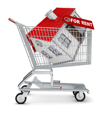 house for rent: House for rent in shopping cart on isolated white background