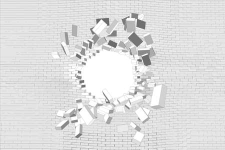 hole in wall: Hole in white brick wall. Vector illustration