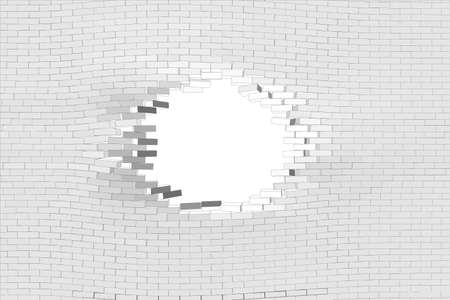 hole: White brick wall with hole. Vector illustration