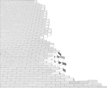 pared rota: Pared quebrada en el fondo blanco aislado. Ilustraci�n vectorial