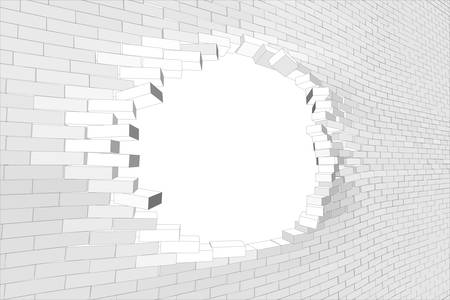 big break: White brick wall with big hole. Vector illustration