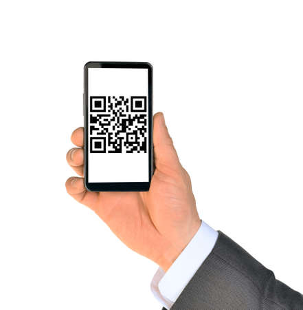 qrcode: Businessmans hand showing smartphone with QR-code on isolated white background