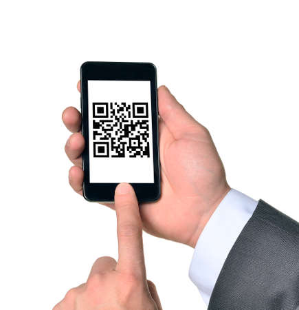 qrcode: Businessman touching smartphone with QR-code on isolated white background Stock Photo