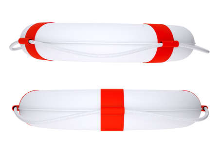 savers: Two life savers with rope on isolated white background, side view