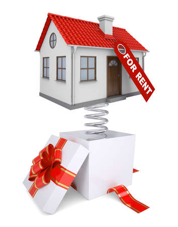 house for rent: Gift box with red band and house for rent on isolated white background