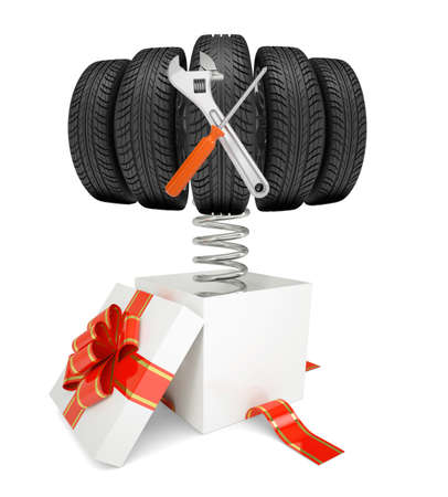 fancy box: Gift box with red band and car tires and tools on spring on isolated white background