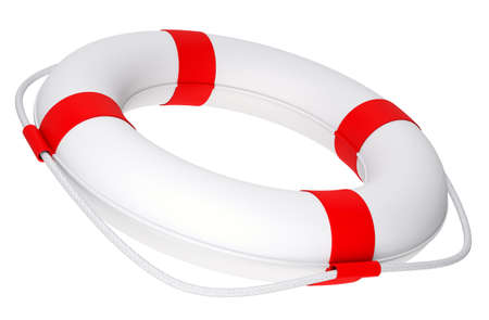lashing: Life buoy with rope on isolated white background, side view Stock Photo