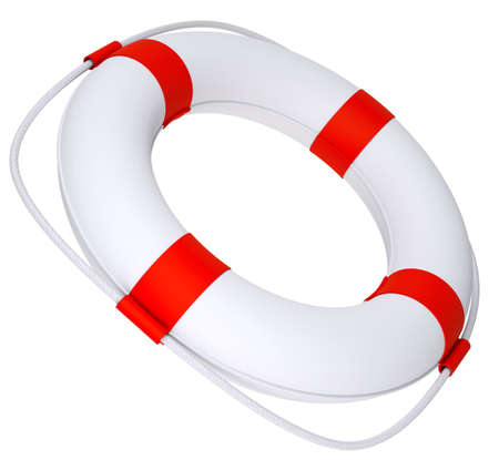 flotation: Life saver with rope on isolated white background, close-up view Stock Photo