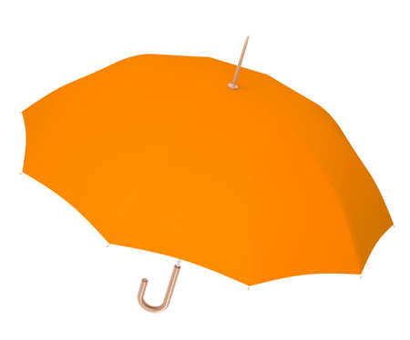 angle view: Open orange umbrella with stick on isolated white background, angle view