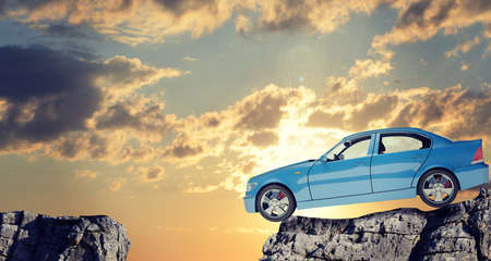 tailpipe: Car on mountain top with blue sky and clouds