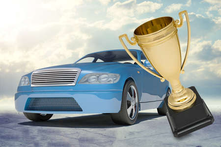 tailpipe: Blue car and gold top honour on nature background Stock Photo