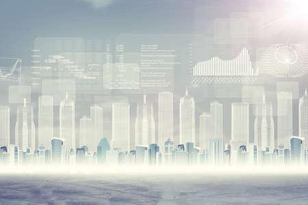 Abstracte virtuele achtergrond met stadsbeeld en grafische kaarten