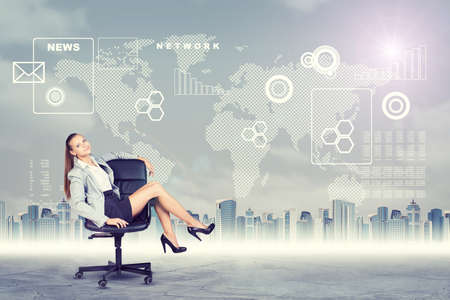 furniture concept: Woman sitting in chair and looking at camera on abstract virtual background