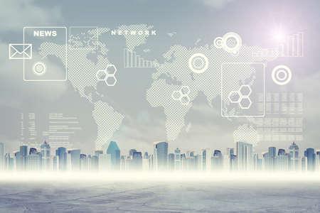 mapa mundi: Fondo virtual abstracto con paisaje urbano, mapa del mundo y cuadros gr�ficos