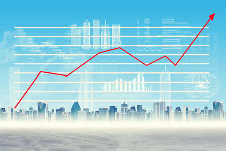graphical: Abstract virtual background with cityscape and graphical charts