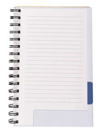 copybook: Copy-book with spring on isolated white background Stock Photo