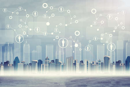 Cityscape on abstract virtual background with connected dots and icons Stockfoto