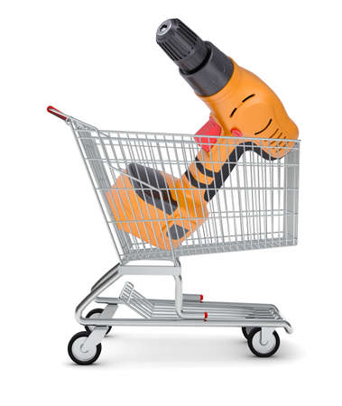 perforator: Perforator in shopping cart on isolated white background