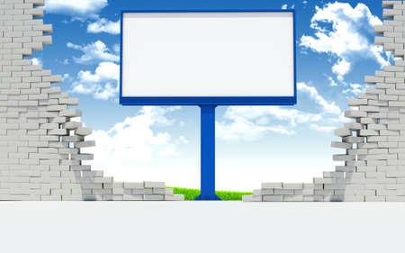 pared rota: Billboard en la pared rota sobre fondo de cielo azul con nubes