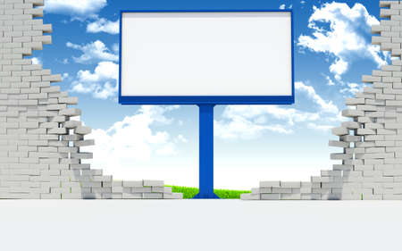 wall clouds: Billboard in broken wall on blue sky background with clouds