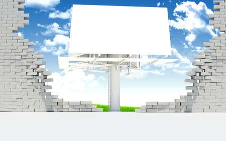 broken wall: Banner en la pared rota en el fondo del cielo azul con nubes Foto de archivo