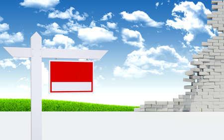 pared rota: Poste de muestra en el muro roto en el fondo del cielo azul con nubes