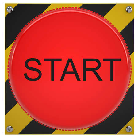 push button: Red push button with word start, close-up view Stock Photo