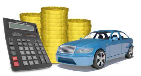 Piles of gold coins with car and calculator on isolated white background