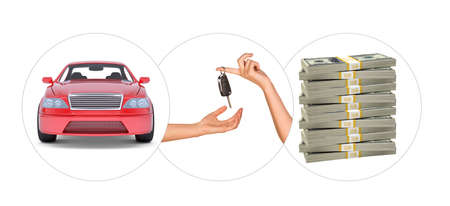 tailpipe: Car with hands and bundle of money on isolated white background Stock Photo