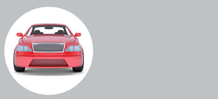 isolated on grey: Red car in white circle on isolated grey background Stock Photo