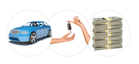 Blue car with hands and bundle of money on isolated white background