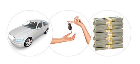 tailpipe: White car with hands and bundle of money on isolated white background