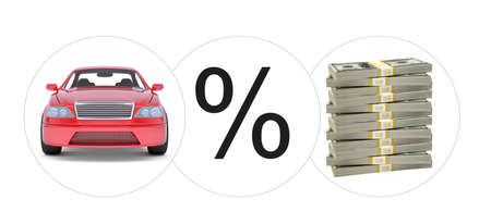 tailpipe: Car with percent and bundle of money on isolated white background