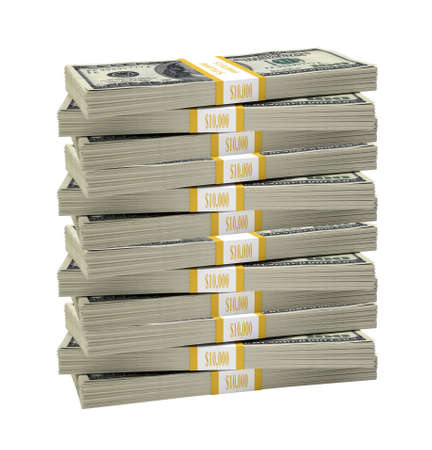 money stacks: Big stack of dollar on isolated white background Stock Photo